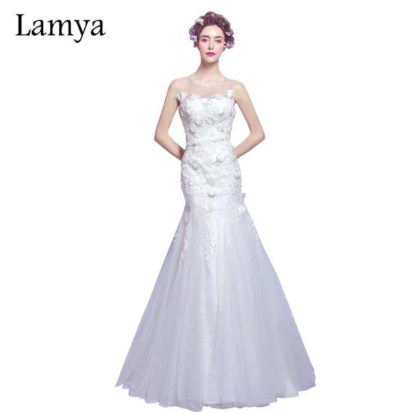 compre venta al por mayor tulle sirena vestidos de novia corte tren