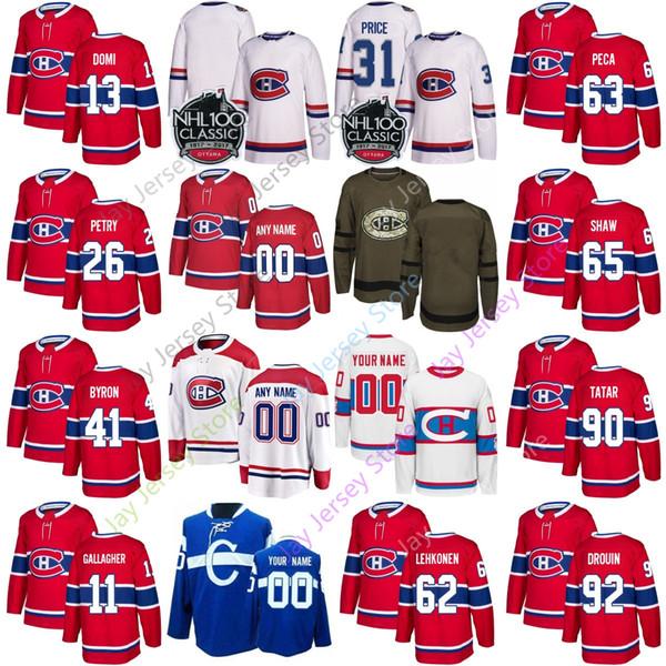 promo code acee0 09628 2019 Custom Montreal Canadiens Jersey Jonathan Drouin Jeff Petry Tomas  Tatar Lehkonen Danault Kotkaniemi Byron Peca Agostino Men Women Youth Kid  From ...