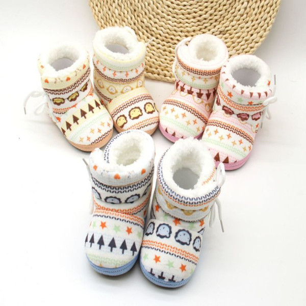 best selling 0-12 Months Baby Infant Toddler Newborn Kids Shoes Cotton Padded Snowshoes Winter Warm Boots Mix Color Wholesle 30 Pairs