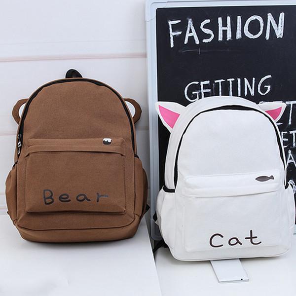 Women Harajuku Style Long Ears Rabbit Cute Cat Brown Bear Backpack Student School Bag Travel Backpack Fa$b Women Bag