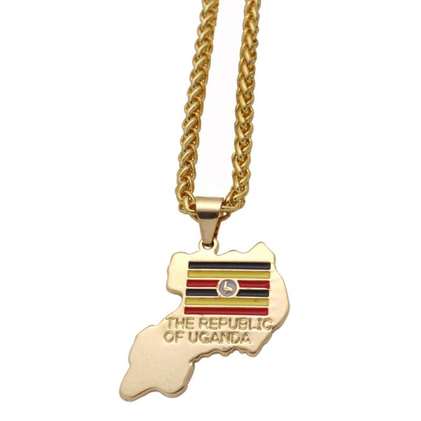 the republic of uganda National Flag pendant necklace , country map jewelry accept drop shipping
