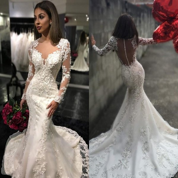 2017 New Sheer Crew Neck Button Back Mermaid Wedding Dresses Arabic Long Sleeves Lace Appliques Robe De Mariage Sweep Train Bridal Gowns