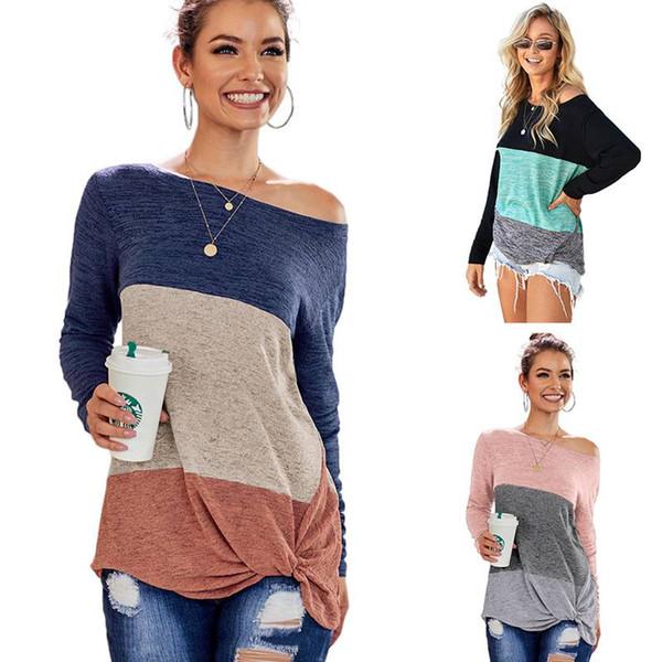 Nuovo arriva il colore delle donne di moda blocchi girocollo T shirt manica lunga superiore casuale
