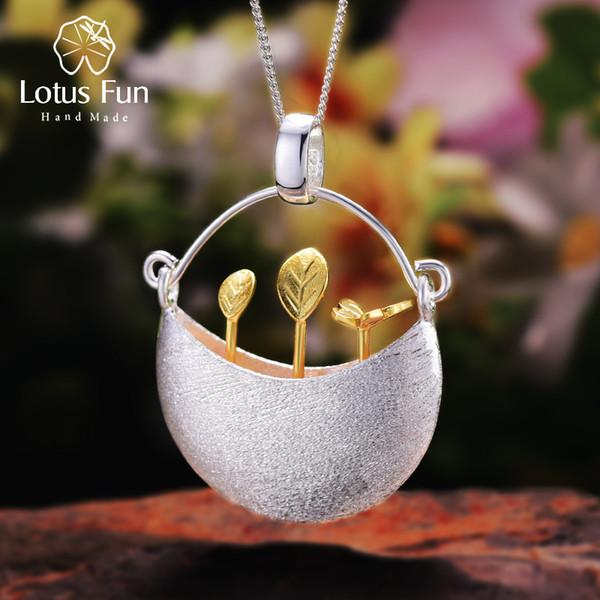 Lotus Fun Real Prata Esterlina 925 Handmade Fine Jewelry My Little Garden Design Pingente Sem Colar Para As Mulheres Acessorios MX190801
