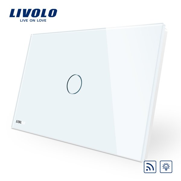 Livolo Remote Switch, AU/US Standard, White Crystal Glass Panel, Wall Light Wireless Remote Dimmer Switch