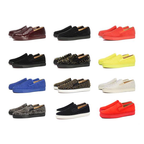 Último Designer de Sapatilhas Fundo Vermelho Sapatos Casuais Das Mulheres Dos Homens Baixos Spikes Flats Loafers Pik Barco Design de Couro Genuíno Sapato Plano 35-46