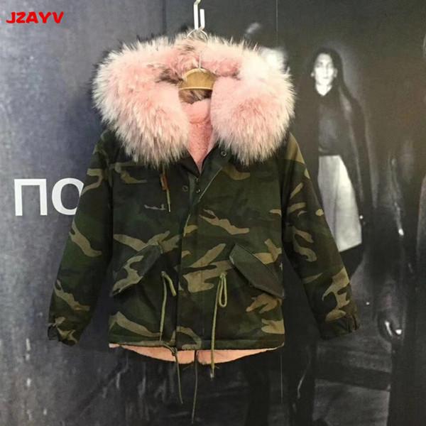 JZAYV Camouflage parka verdadeira guaxinim gola de pele de algodão casaco de baby pink faux quente hoodies parkas pele topos