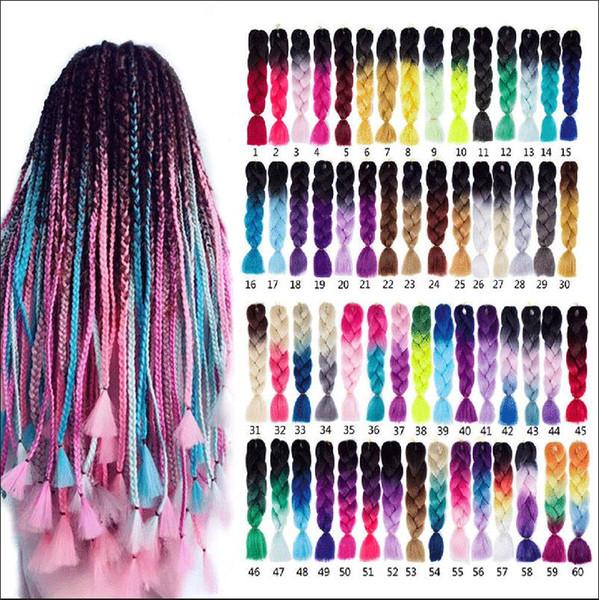 "Synthetic Jumbo Braids Ombre Braiding Hair Kanekalon 24"" Box Braid Hair Pink Purple Green Grey Yellow Golden xpression braiding hair"