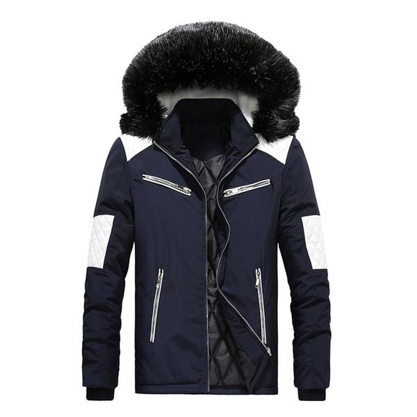 M-XXL Gola De Pele Com Capuz Homens Jaqueta de Inverno 2018 Nova Moda Quente Forro De Lã Homem Jaqueta e Casaco Masculino Parkas À Prova de Vento casaco