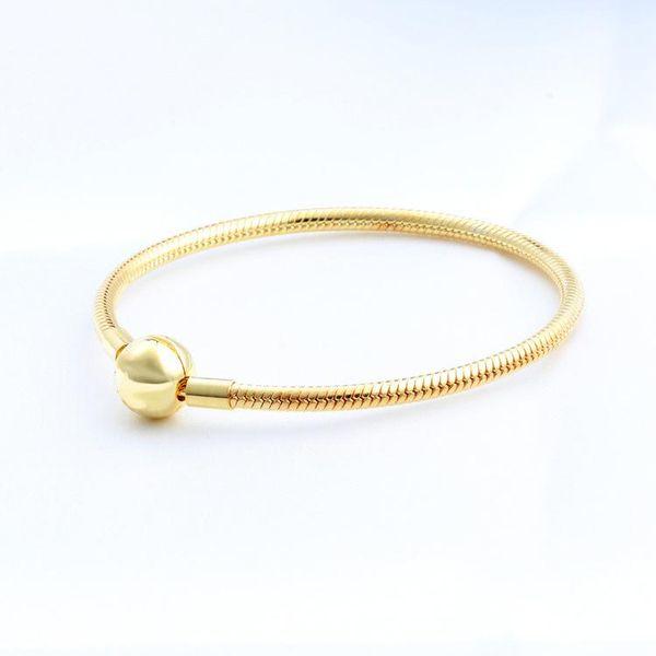 NUOVI braccialetti con clip a sfera placcati oro giallo 18 carati da uomo, confezione originale per bracciale Pandora in argento 925 con catena a serpente per gioielli da sposa da donna