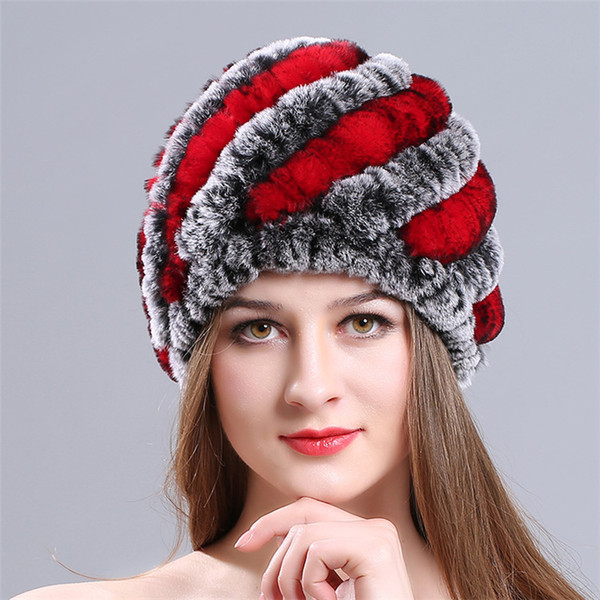 Rex Rabbit Fur Hats Ladies Thickened Warm Pineapple Knitted Beanies Hats Wool Winter Women Cap Gifts