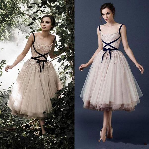 2019 New Paolo Sebastian Blush Pink Applique Beads Prom Dresses Square Neckline Tea-Length Tulle Formal Party Gowns Amazing Dresses