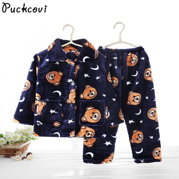 Pijamas Kids Pijama Set Coral Fleece Baby Boy Girl Printing Children Flannel Sleepwear Infant Pajamas Warmed For Winter J190508