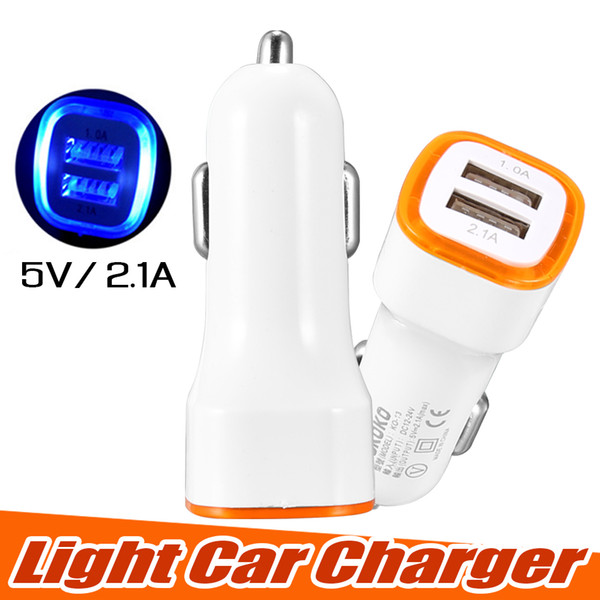 Univer al led dual u b car charger nokoko vehicle portable power adapter 5v 2 1a for iphone x am ung 8 note 8 with opp package