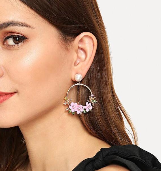 Kendra Scott rétro version coréenne ins rouge net avec les boucles d'oreille de fleur boucles d'oreilles en perles imitation céramique douce douce oreille bijoux féminins