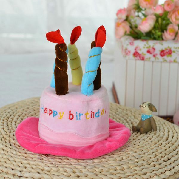 Щенок собака шляпа шапка костюмы плюшевая собака шляпа одежда с Днем Рождения регулируемая шляпа с тортом свечи дизайн