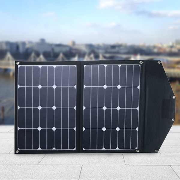 70 Watt Foldable Solar Panel Kit; DC 18V Portable Solar Charger Suitcase 2x35W Monocrystalline Module Boats, Camping; USB 5V Output as Phon