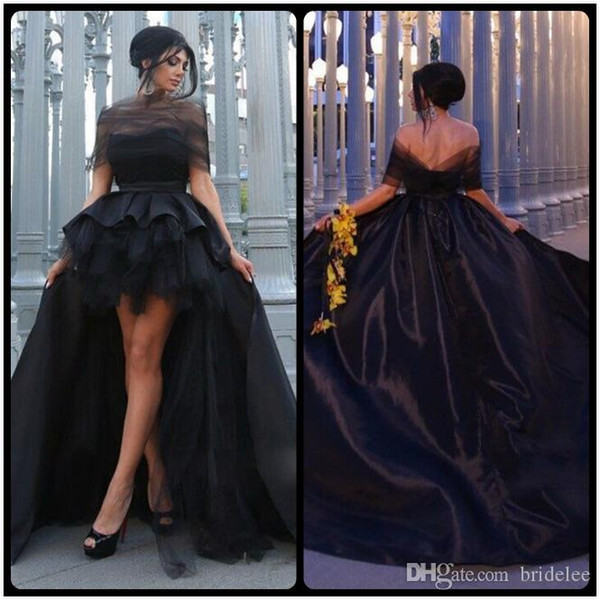 2020 Fashion Black Mother and Daughter Prom Dresses Off Shoulder High Low Taffeta Evening Gowns vestidos de baile Custom Made