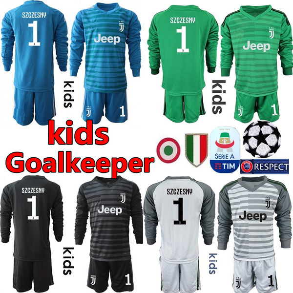 new product c08f8 1d417 2019 2018 19 Youth Long Sleeve Juventus Goalkeeper Jerseys Kids Soccer Sets  #1 Buffon Kid Goalkeeper Jerseys #1 Szczesny Children Boys Uniform From ...