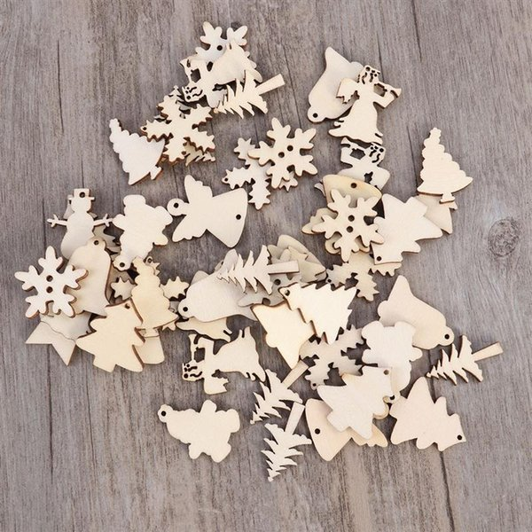 50pcs Wooden Angel Pattern For Christmas Tree Decoration Scrapbooking Hanging Ornament Snowman Snowflake DIY Art Crafts Decor A3