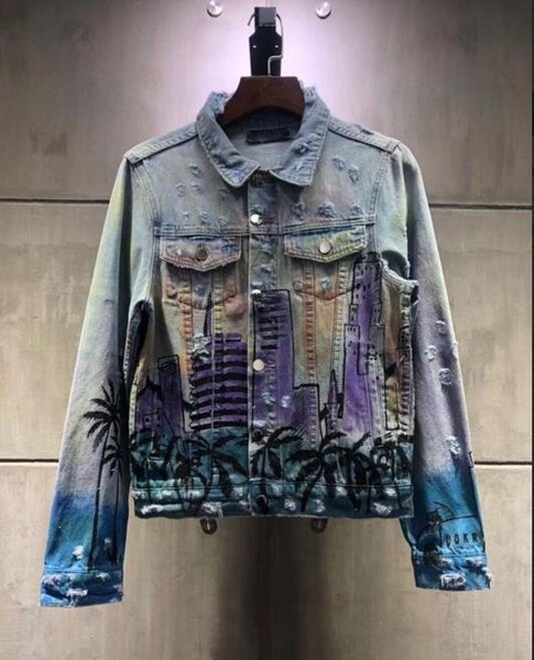 2019 Fashion NEW Denim Jacket Mens Womans Jacket Back Printing Denim Coat Ripped Denim S Streetwear Spring Summer S XL Leather Jacket Sale Coats Men
