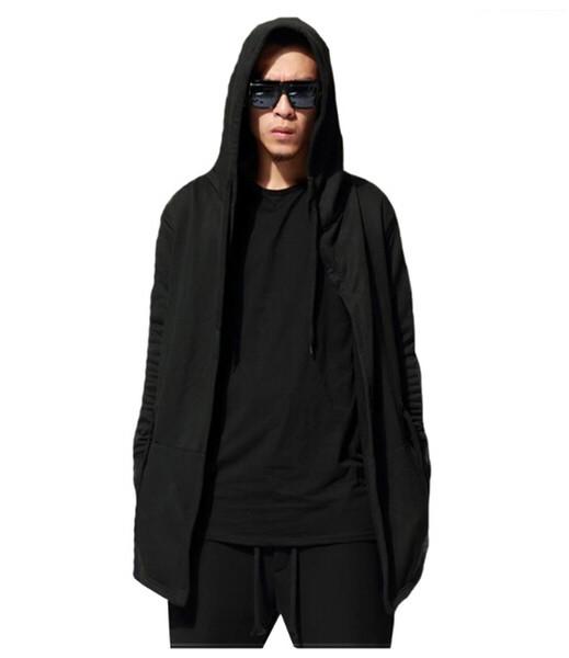 Fashion-autunno Cardigan con cappuccio Felpa Black Wizard mantello grigio Capispalla Mens High Street Swag cappuccio donne slacciano MANICA LUNGA