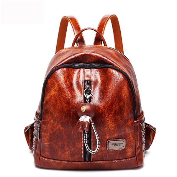 best selling New Women Fashion High Quality Backpacks for Female Designer Leather Shoulder Bags Large Capacity Travel Bagpack for Girls School Femme Bag