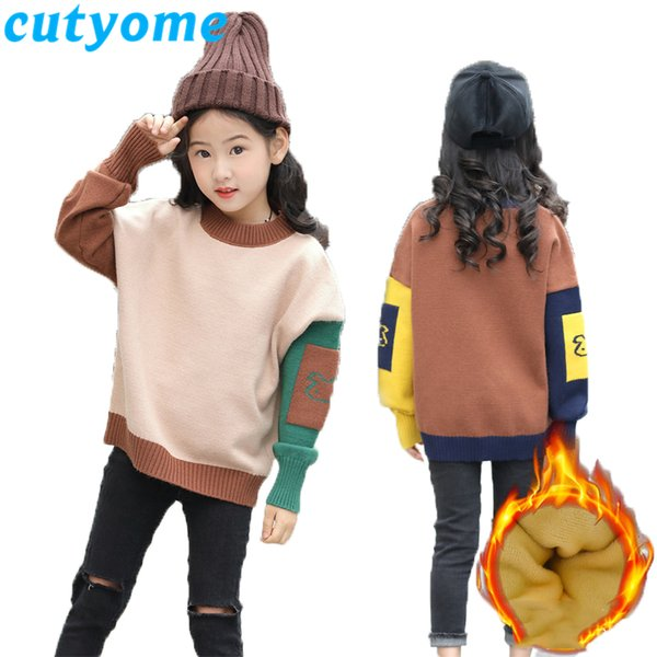 Fashion Winter Sweater for Teenage Girls Long Sleeve Patchwork Thickening Warm Pullovers Knitted Children Sweater 8 10 12 13 14Y
