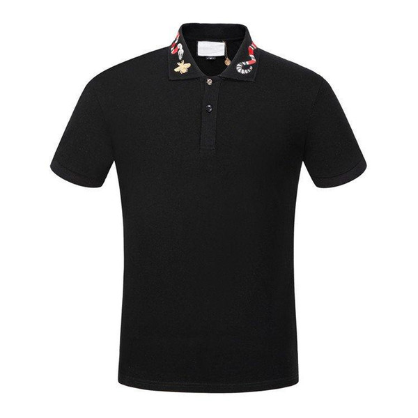 19ss Polo de algodón con bordado Kingsnake polo bordado de los hombres apliques abeja cuello polos para hombre camisetas camisas pantalones cortos Poloshirt