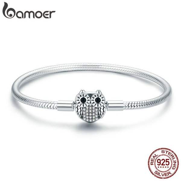 Bamoer Authentic 100% 925 Sterling Silver Cute Animal Owl Clasp Women Snake Chain Bracelet Sterling Silver Jewelry S925 Scb067 Y19051002
