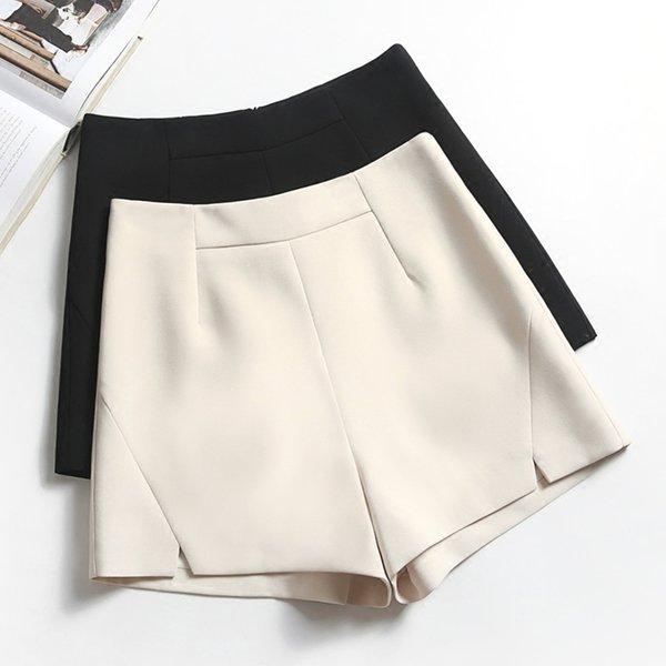 Elegant Slim Shorts Women Black White Apricot Slit Shorts Spring Summer High Waist Wide Leg A Line Short Feminino Korean Shorts Y19050905