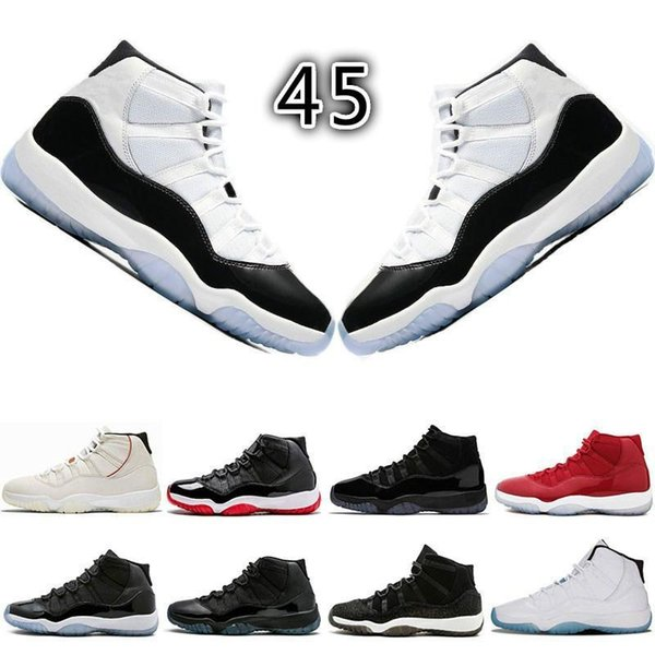 11s Basketball Shoes Concord 45 Platinum Tint Prom Night gym red 11 Bred womens Mens Designer trainers sneakers size 5.5-13 A04
