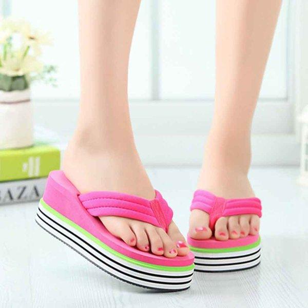 2017 ocasionales de la playa del deslizador de las sandalias de las mujeres Nuevo diseño de Verano Inicio Masaje plana flip-flops los zapatos de los zapatos femeninos
