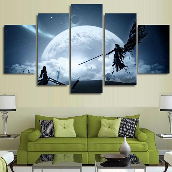 Canvas Wall Art Pictures Home Decor 5 Peças Final Fantasy Jogo Personagens de Animação Pinturas de Cena HD Prints Posters Quadro