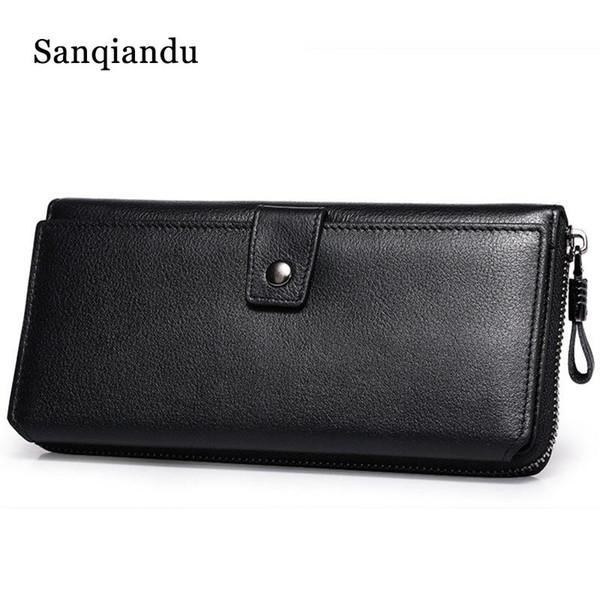 Sanqiandu Echtes Leder Männer Lange Geldbörse Männliche Kupplung Geldbeutel Brieftaschen Mode Design Brieftasche für Handy Kartenhalter Brieftasche