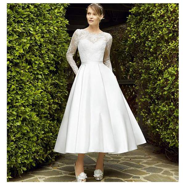 Свадебное платье 2019 лодыжки длина свадебное платье кружева аппликации кот романтический свадебное платье фронт Сплит на заказ