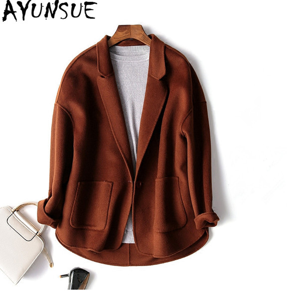 AYUNSUE Casual Short Wool Coat Women 2018 New Coat Female Autumn Winter Jackets Handmade Cashmere Coats casaco feminino WYQ1243