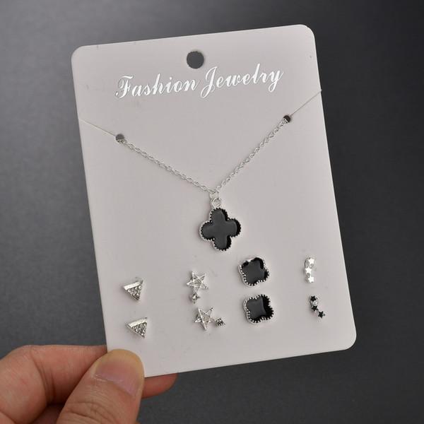 Conjunto de joyas y collar de moda Conjunto de regalos Conjunto de combinación de 5 piezas (4 pares de pendientes, collar de 1 pieza)