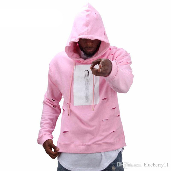 Mens hip hop pink hoodies sweat suit tracksuit men with the hole hoodies winter male streetwear free shippi