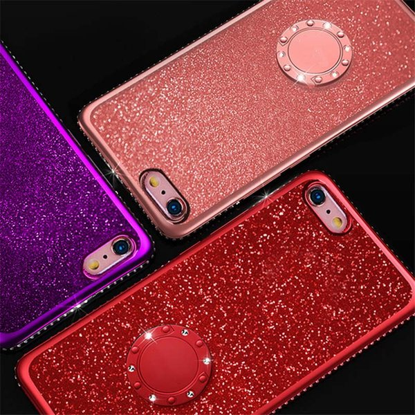 Rhinestone Metal Ring Holder Phone Cover Electroplate Bling Bling Soft TPU Gel Bumper Cases for iPhone Apple 7 8PLUS XR X MAX