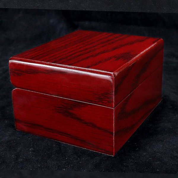 Watch Case Wristwatch Wood Storage Organizer Small Portable Size Wine Red with Removable Pillow