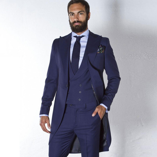 Long Jacket Men Suits for Wedding Navy Blue Tailcoat Groom Tuxedo trajes de hombre 3Piece Latest Designs Terno Masculino Costume Homme