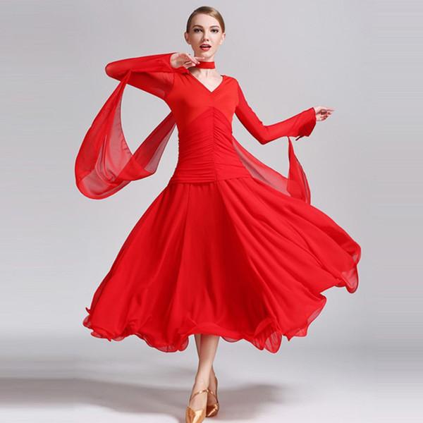 vermelhos preto padrão mulher dança vestido de dança de salão vestido foxtrot valsa de salão de tango vestidos de franja sociais
