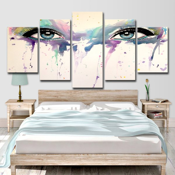 Modular Canvas Abstract Pictures Home Decor For Living Room Wall Art 5 Pieces Psychedelic Eyes Painting HD Prints Poster