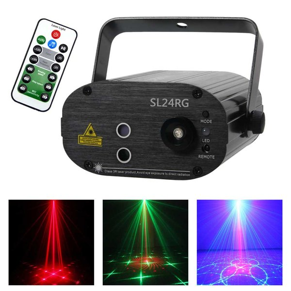 AUCD Remote Mini 24 Red Green Gobos Laser Projector Effect Mix 3W Blue LED Stage Lighting for DJ Disco Party Show Lights SL24RG