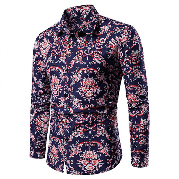 Çiçek Gömlek Erkek Giyim Slim fit Uzun kollu Moda Çiçek Bluz Erkekler Casual Elbise Erkekler Gömlek Artı boyutu Kırmızı Mavi