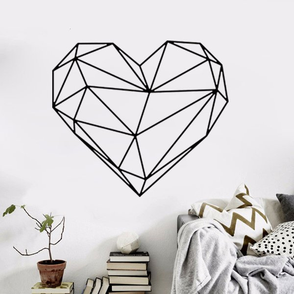 Black Large heart Geometric Wall Sticker Removable Double Sided Visual Pattern Home Decoration House Wallpaper free shipping wn632A