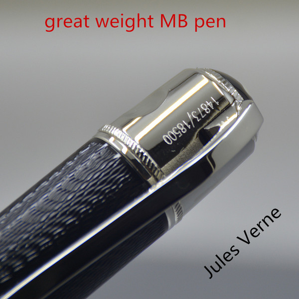 Luxury mb black pen great writer jule verne limited edition big handle full metal fountain pen for gift 14873 18500