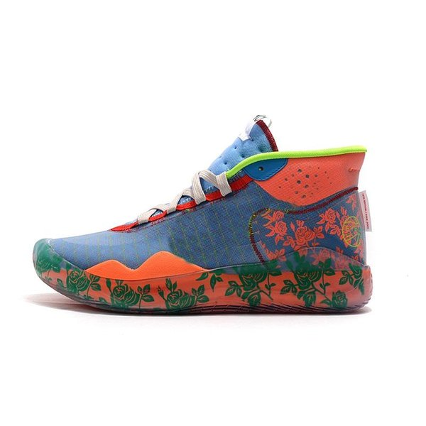 cheap mens kd 12 basketball shoes Floral Flowers MVP Orange Blue Yellow Easter new high top kd12 kevin durant xii sneakers boots with box