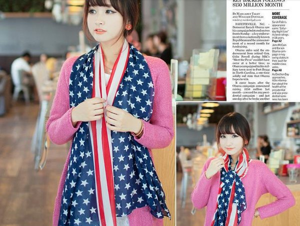 Echarpes Drapeau américain Drapeau Pentagram en mousseline de soie Echarpe Mode USA Foulard patriotique Stars and Stripes drapeau américain foulard pour les femmes Wrap
